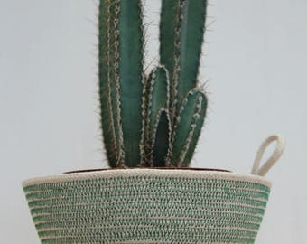 Rope Planter Bowl in Forest Green (small size)