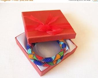 15% SALE Beadwork - 2 Strand Multicolor Bead Crochet Bracelet - orange - green - red - blue - pink - turquoise - grey