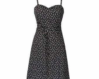 Black dress, Summer Dress, Floral dress, dress belt, Above the knee dress, Party dress, Casual dress, Sleeveless dress, Flattering dress