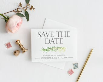 Watercolor Rosemary Sprig Save the Date, Digital Invitation, Simple, Greenery