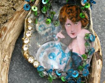 Mermaid's Grotto OOAK Wearable Art Assemblage Peacock Gypsy Oyster Shell Brooch
