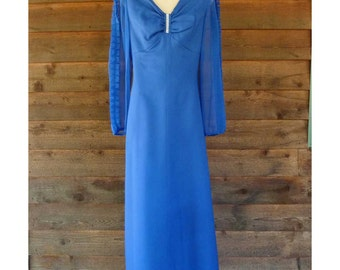 Vintage Royal Blue Formal dress with sheer sleeves and bustier, Hilltower 60s, size M