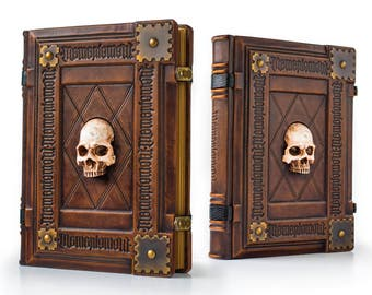"10"" x 13"" - Memento Mori, large leather journal - 480 pages - Skull journal - medieval sketchbook - magician book - gamer handbook"