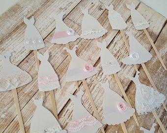 Wedding dress cupcake toppers bridal shower wedding decor