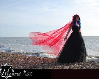 Beautiful Shimmer Organza Cloak with a train. Ideal for a Wedding, Hand fasting or Medieval Event. Made to Order! Ivory, White, Silver, Gold
