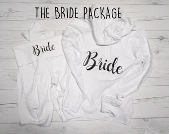 Bride Bundle, Bride Hoodie and Yoga Pants Package, The Bride Package, Bride Sweatsuit, Bridesmaid Sweatsuit, Bridesmaids Sweats Yoga Pants