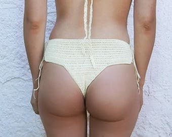 High Waisted Thong Bikini Bottom Crochet Pattern _ M53