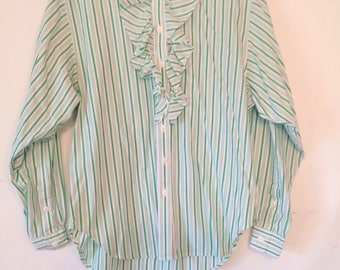 1980s button down blouse LizSport vintage blouse green striped top green and white blouse small petite womens vintage clothing 80s 1980s