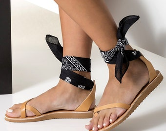 "Leather Sandals, Women Ankle Tie sandals with low wedge with a set of 5 interchangeable bandana laces!  ""Irene"" NEW SS17 - Free Shipping"