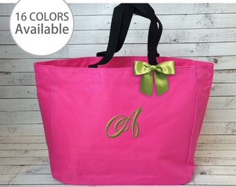 3 Monogrammed Tote Bags, Embroidered Essential Tote, Bridesmaid Gift, Bridal Party Gifts, Personalized Tote Bag