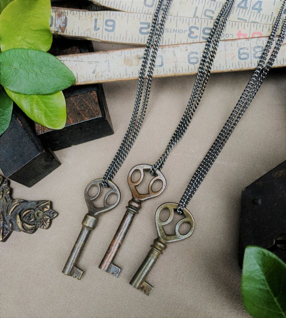 Victorian Key Necklace | Fancy Furniture Key | Gunmetal Steel or Antique Brass Chain | Vintage | Steampunk | Skeleton Key | Limited #'s