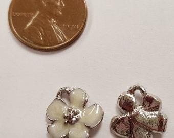 1 White Enamel Flower Silver 14mm. Bead Charm Pendant E219