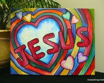 original acrylic painting, abstract painting, Jesus, Christian art, heart art, colorful painting, 11x14 painting, small painting, wall art