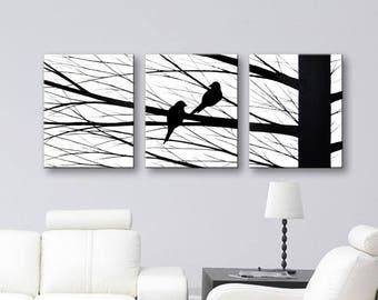 Bird Silhouette Love Birds Art Painting Wall Art Bird Canvas Art Home Decor 48x20 Black white wall decor Artwork