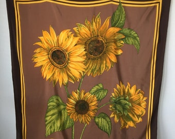 "Silk SUNFLOWER shawl scarf  Large  Floral copper  Black Gold Hand rolled Signed Italian Forele Shawl Lush Retro Art  decor 41 by 39 """