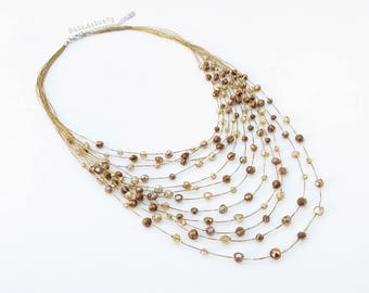 Brown crystal necklace on gold silk thread, metallic brown, multistrands necklace
