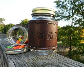 Dad Gift - New Dad, Leather Mason Jar Sleeve, Home decor for Dad