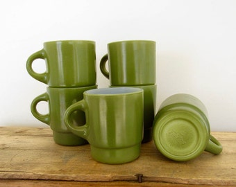 Green Fire King Mugs
