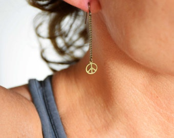 Earrings utopia chain and medal peace and love bronze brass