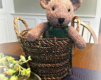 Hand Knit Teddy Bear Toy/ Knitted Stuffed Animal Toy/ Bear Softie/ Boy Bear Stuffed Animal