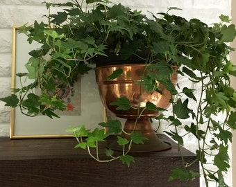 vintage copper footed planter aged weathered rustic