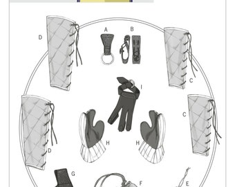 Butterick B5733 Mug/Ax Loops, Bracers, Greaves, Gloves and Pouch Historical Accessories Costume Sewing Pattern