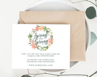 INSTANT Spring Business Cards, Editable PDF Spring Packaging Cards for Online Shops, Etsy Sellers | Spring Marketing Cards, PDF Template