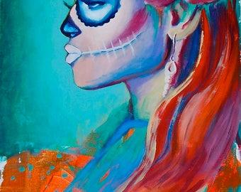 Esperando Day of the Dead Sugar Skull Dia De Los Muerto 12x18 Poster Mexican Print Wall Art Colorful Abstract Pop Art