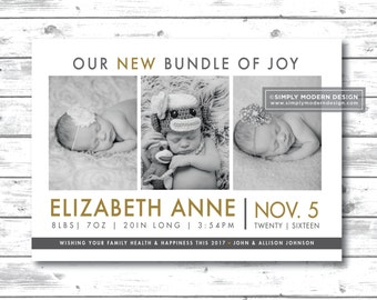 Holiday birth announcement, new years, holiday card, new bundle of joy, multiples, triplets, card, twins, PRINTABLE or PRINTED CARDS