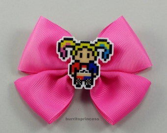 Harley Quinn Hair Bow - Harley Quinn Bow - Harley Quinn Hair Clip - Harley Quinn Bow Tie - Harley Quinn Cosplay - Pink Hair Bow
