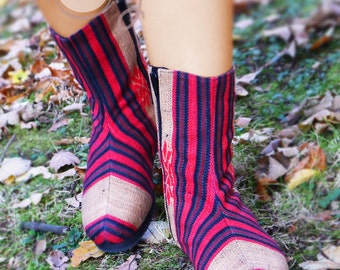 Women's Tribal Vegan Boots, Women's Boots, Tribal Boots, Vegan Boots, Red Boots, Hippie Boots, Boho Boots, Gypsy Boots, Ethnic Boots