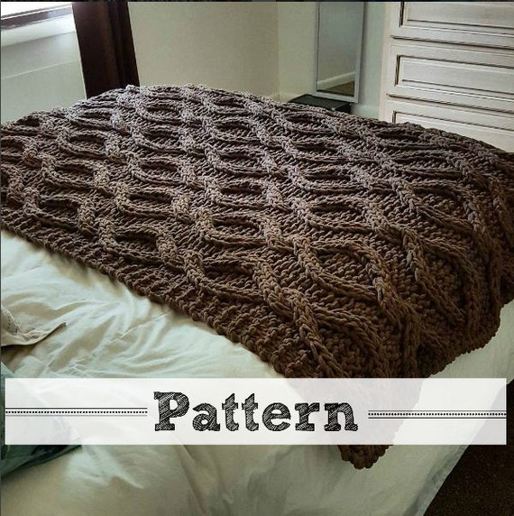 Cable Knit Throw Pattern : Infinity Cable Knit Blanket PATTERN