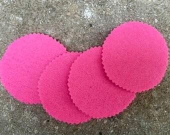 Hot Pink Round Felt Coasters, Wool Coasters, Simple Coasters, Coaster Set, Drink Coaster
