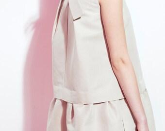 Holiday Linen Dress / Bridesmaid Linen Dress / Minimal Beige Dress / Party Dress / A-Silhouette Dress / Flared Skirt