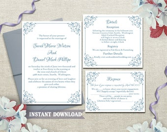 Wedding Invitation Template Download Printable Wedding Invitation Editable Invitation Blue Invitation Elegant Floral Wedding Invite DIY DG05
