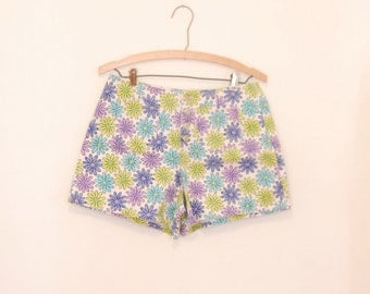 Floral Print Denim Shorts - Early/Mid 90s