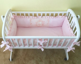 Candy Pink Cherub Angel Toile CRADLE BEDDING SET -- Includes Cradle Pad and Fitted Sheet -- Matching Blanket & Pillow Available As An Option
