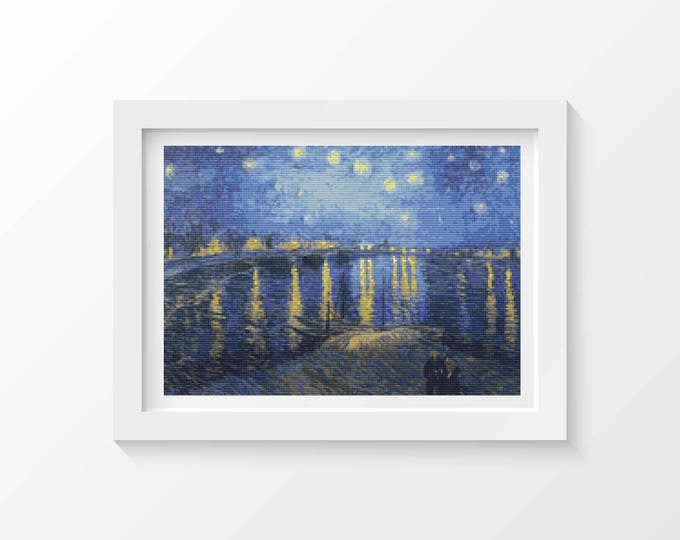 Cross Stitch Pattern PDF, Embroidery Chart, Scenery Cross Stitch, Starry Night over the Rhone by Vincent van Gogh (VGOGH01)