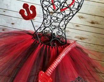 Devil tutu with matching ears and tail | Newborn-Adult listing| Halloween Costume