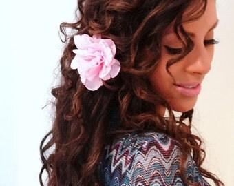 PINK Flower Hair Clip, Women's Hair Accessory, Pink Hair Flower