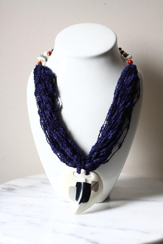 1980s oversized necklace // 1980s ceramic necklace // vintage jewlery