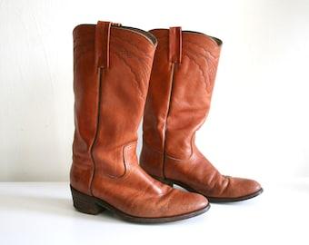 Frye Tan Cowboy Boots 10.5