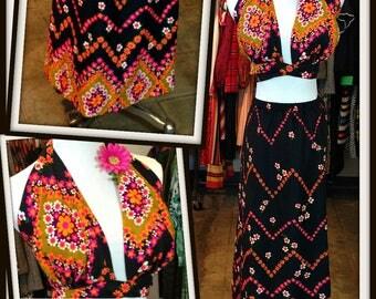 Vintage Black Pink Print Long Maxi Skirt Matching Halter Top Set  FREE SHIPPING