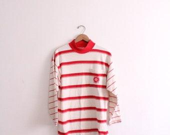 Red Striped Mock Turtleneck Shirt