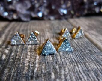 Druzy Stud Earrings,Druzy Studs,Druzy Post Earrings,Gemstone Studs Gold,Druzy Earrings,Triangle Studs Gold,Gold Triangle Studs,Studs Druzy
