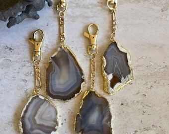 Agate Keychain Gold,Gemstone Keychain Gold,Raw Stone Keychain,Geode Planner Charm,Geode Keychain,Geode Keyclip,Boho Keyring,Gold Keyclip
