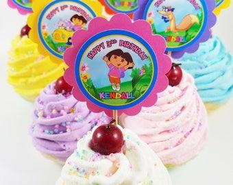 Dora Cupcake Toppers Etsy - Dora birthday cake toppers