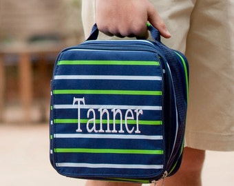 Shoreline Lunch Bag with Monogram, Navy Stripe Lunch Bag, Personalized Lunch Bag, Boys Lunch Bag, Back to School Lunch Bag
