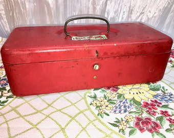 Vintage Red Metal Box. Industrial Wedding Decor.  Child's Tool Box or Tackle Box. Storage. Mid-Century.
