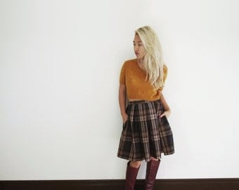 Wool Plaid pleated 50s vintage retro style a-line skirt